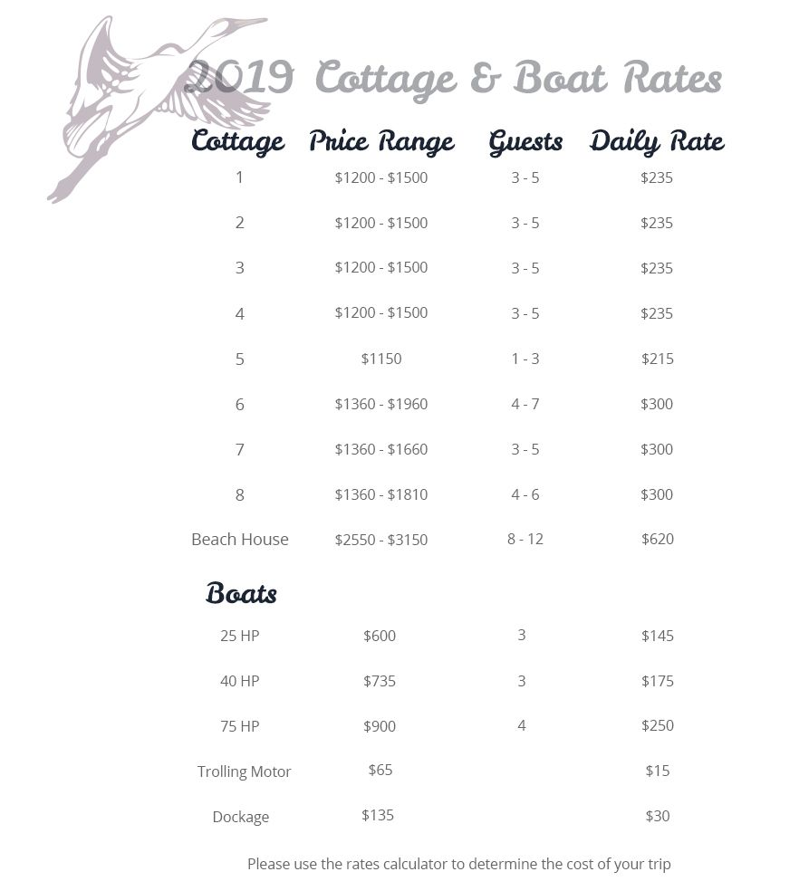 Promised Land Camp Cottage Rates
